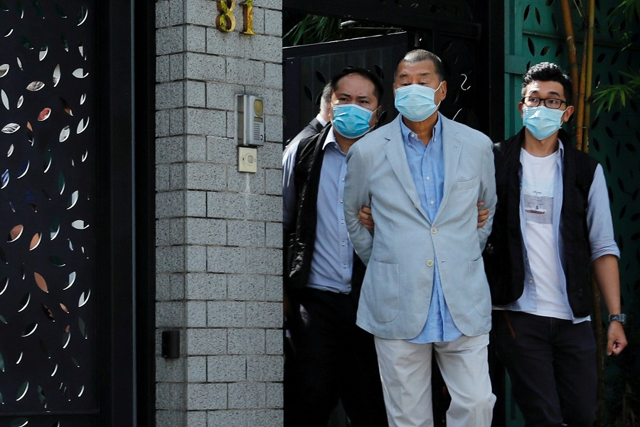 Media mogul Jimmy Lai is detained by the national security unit in Hong Kong, China, on 10 August 2020. (Tyrone Siu/Reuters)