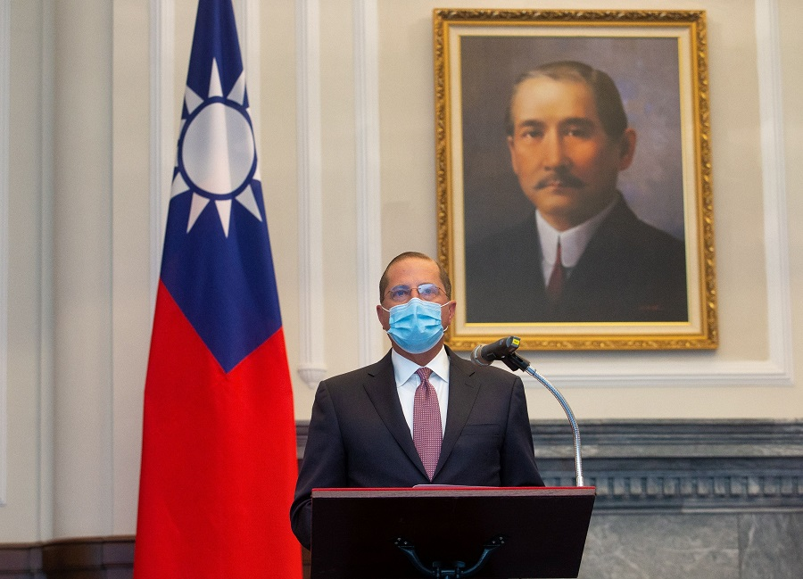 US Health and Human Services Secretary Alex Azar speaks during a meeting with Taiwan President Tsai Ing-wen (not pictured) at the presidential office, in Taipei, Taiwan, on 10 August 2020. (Central News Agency/Pool via Reuters)