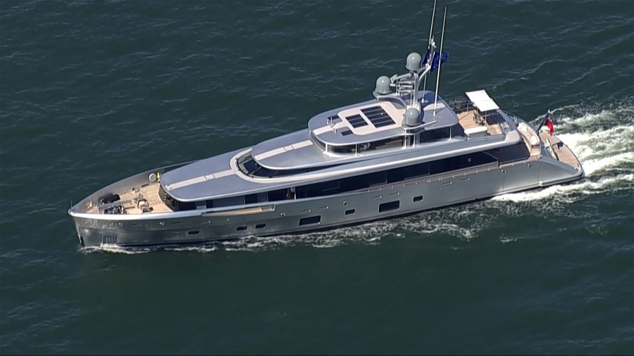 """The """"Lady May"""" yacht, where former White House Chief Strategist Steve Bannon was arrested, is seen underway in the Long Island Sound near Westbrook, Connecticut, US, in this screengrab taken from NBC New York footage on 20 August 2020. (NBC New York/Reuters)"""