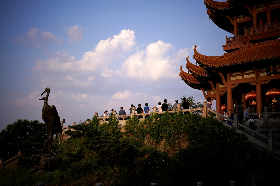 People visit the Yellow Crane Tower in Wuhan, Hubei, China, 3 September 2020. (Aly Song/Reuters)