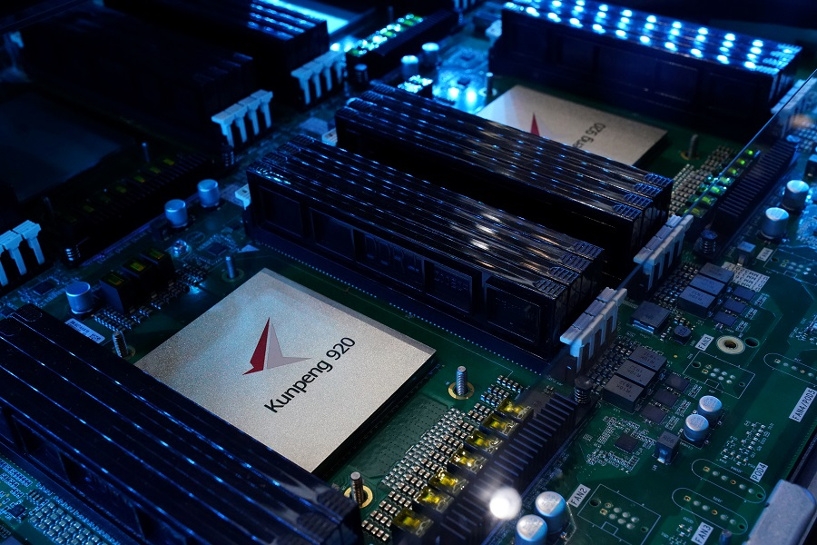 Kunpeng 920 chipset is on display at Huawei's booth during the 2020 China International Fair for Trade in Services (CIFTIS) in Beijing, China, 4 September 2020. (Tingshu Wang/Reuters)