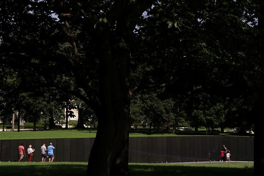 People visit the Vietnam Veterans Memorial in Washington, US, 4 September 2020. (Jonathan Ernst/Reuters)