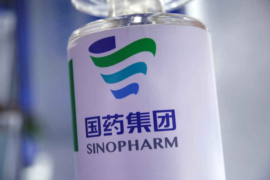 A signage of Sinopharm is seen at the 2020 China International Fair for Trade in Services (CIFTIS), in Beijing, China, 5 September 2020. (Tingshu Wang/Reuters)