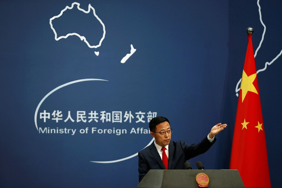 Chinese Foreign Ministry spokesman Zhao Lijian attends a news conference in Beijing, China, 10 September 2020. (Carlos Garcia Rawlins/Reuters)