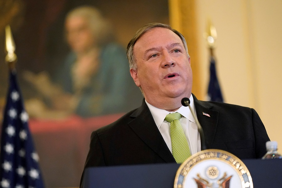 US Secretary of State Mike Pompeo speaks during a news conference at the US State Department in Washington, US, 21 September 2020. (Patrick Semansky/Pool via Reuters)