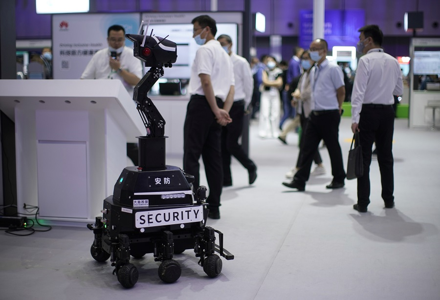 A security robot is seen at a booth during Huawei Connect in Shanghai, China, 23 September 2020. (Aly Song/Reuters)