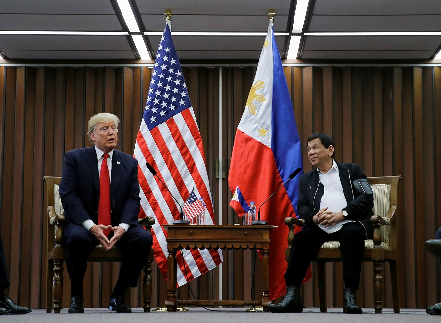 US President Donald Trump holds a bilateral meeting with President of the Philippines Rodrigo Duterte alongside the ASEAN Summit in Manila, Philippines, 13 November 2017. (Jonathan Ernst/File Photo/Reuters)