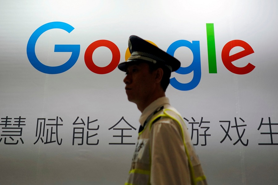A Google sign is seen during the China Digital Entertainment Expo and Conference (ChinaJoy) in Shanghai, China, 3 August 2018. (Aly Song/File Photo/Reuters)