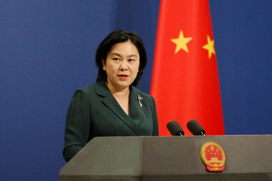 Chinese Foreign Ministry spokesperson Hua Chunying attends a news conference in Beijing, China, 9 October 2020. (Thomas Suen/Reuters)