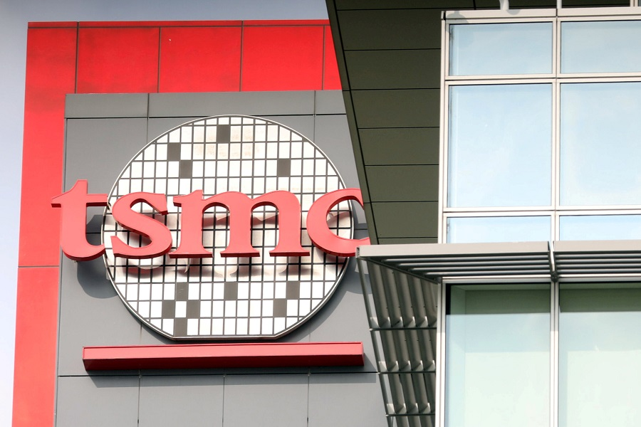The logo of Taiwan Semiconductor Manufacturing Co (TSMC) is seen on one of its office buildings in Tainan, Taiwan, 20 August 2020. (Ann Wang/File Photo/Reuters)