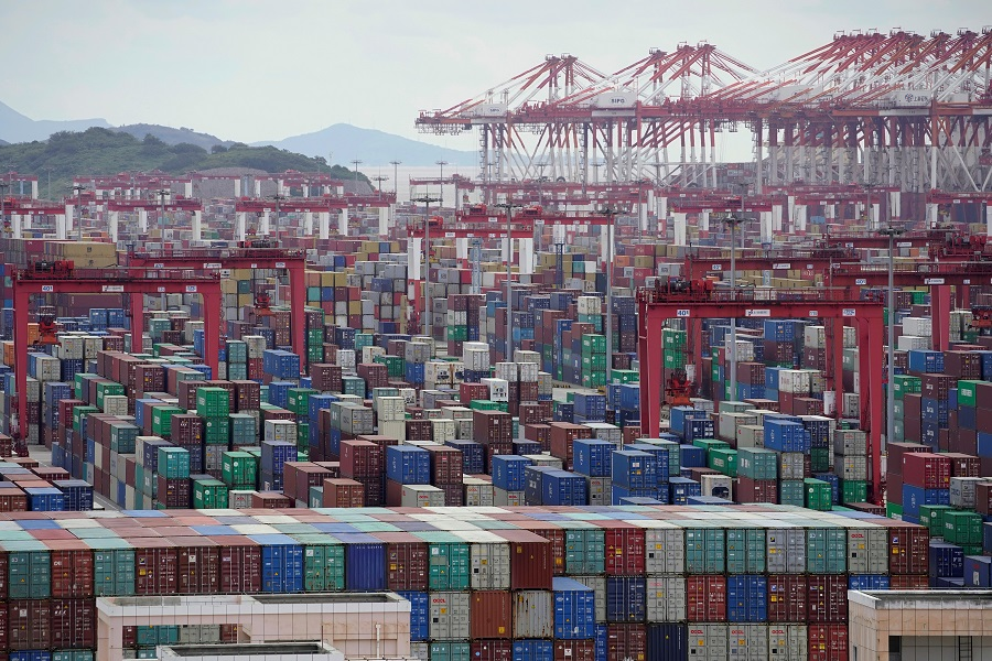 Containers are seen at the Yangshan Deep-Water Port in Shanghai, China, 19 October 2020. (Aly Song/Reuters)