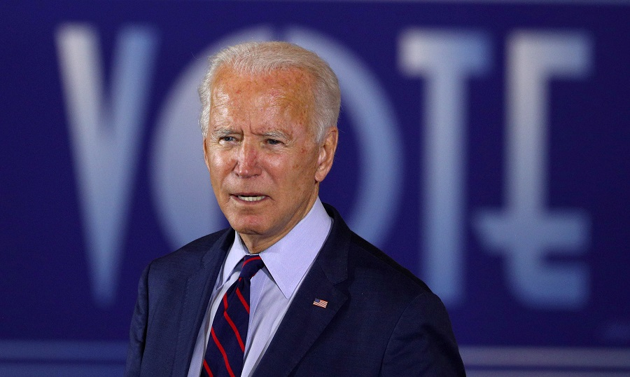 US Democratic presidential candidate Joe Biden delivers remarks at a Voter Mobilisation Event campaign stop at the Cincinnati Museum Center at Union Terminal in Cincinnati, Ohio, US, 12 October 2020. (Tom Brenner/File Photo/Reuters)