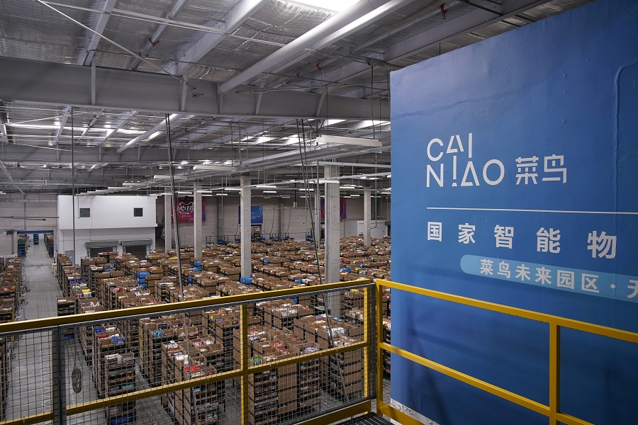 Cainiao's logo, Alibaba's logistics unit, is seen at the warehouse in Wuxi, Jiangsu province, China, 26 October 2020. (Aly Song/Reuters)