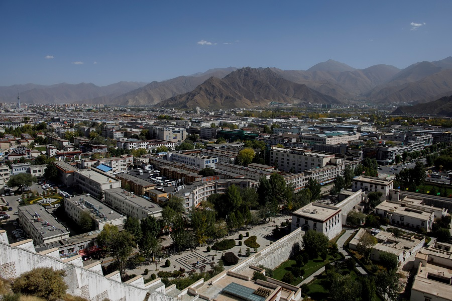 An overview shows Lhasa from Potala Palace, during a government-organised tour of the Tibet Autonomous Region, China, 15 October 2020. (Thomas Peter/Reuters)