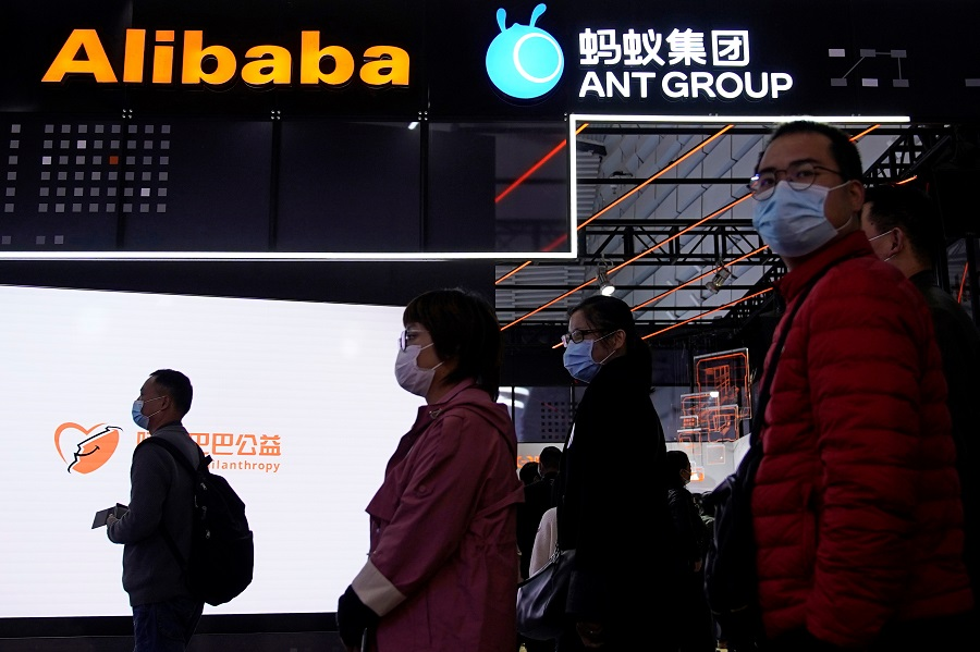 Signs of Alibaba Group and Ant Group are seen during the World Internet Conference (WIC) in Wuzhen, Zhejiang province, China, 23 November 2020. (Aly Song/Reuters)