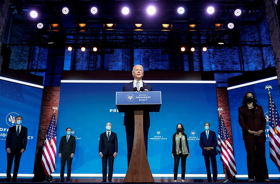 President-elect Joe Biden stands with his nominees for his national security team at his transition headquarters in the Queen Theater in Wilmington, Delaware, US, 24 November 2020. (Joshua Roberts/Reuters)