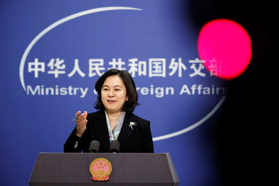 Chinese Foreign Ministry spokeswoman Hua Chunying holds a news conference in Beijing, China, 30 November 2020. (Thomas Peter/ REUTERS)