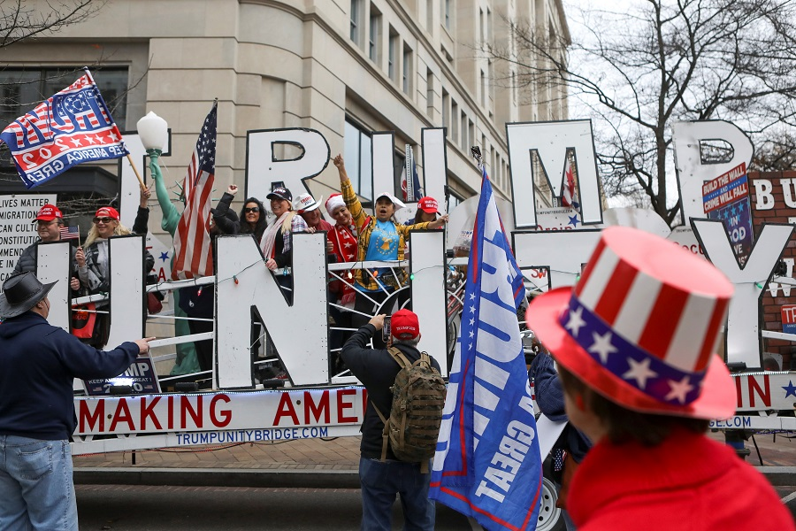 Supporters of US President Donald Trump gather at a rally to protest the results of the election, in Washington, US, 12 December 2020. (Jim Urquhart/Reuters)