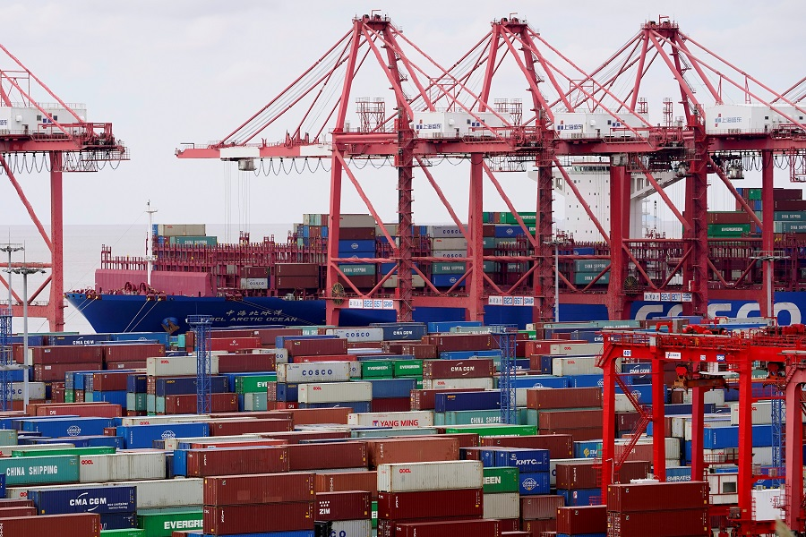 Containers are seen at the Yangshan Deep Water Port in Shanghai, China, 19 October 2020. (Aly Song/File Photo/Reuters)