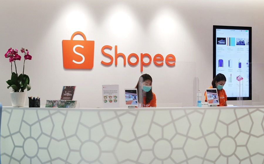 Shopee's reception area is seen at the company's building in Singapore. (SPH)