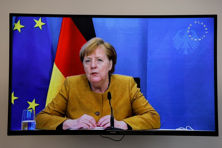 "German Chancellor Angela Merkel speaks during a video conference at the ""One Planet Summit"" on biodiversity at The Elysee Palace in Paris, France, 11 January 2021. (Ludovic Marin/Pool via Reuters)"