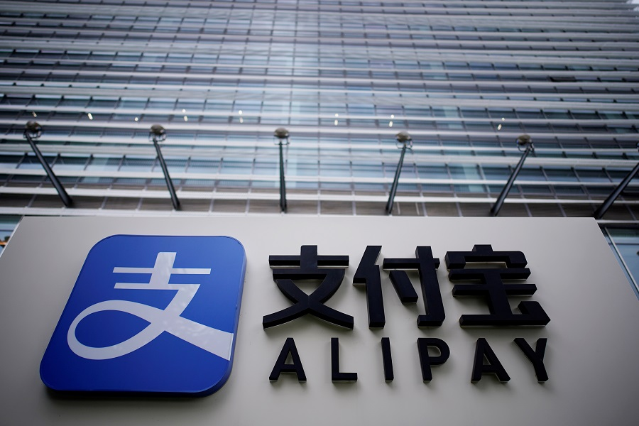 An Alipay sign at the Shanghai office of Alipay, owned by Ant Group, an affiliate of Chinese e-commerce giant Alibaba, in Shanghai, China, 14 September 2020. (Aly Song/File Photo/Reuters)