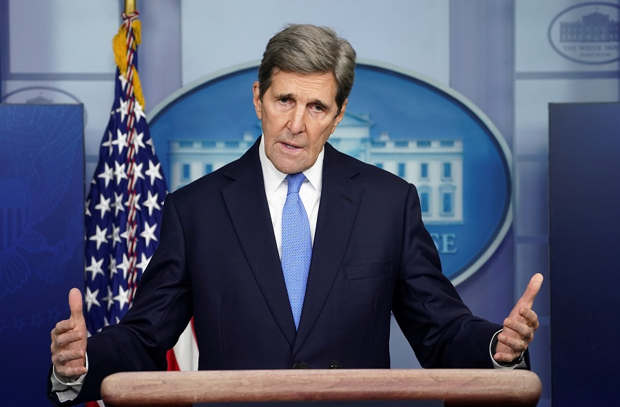 US climate envoy John Kerry speaks at a press briefing at the White House in Washington, US, 27 January 2021. (Kevin Lamarque/Reuters)