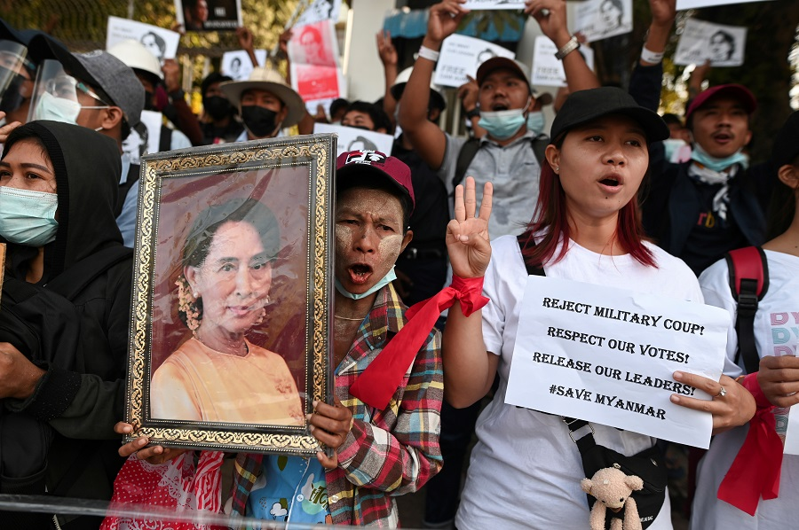 People rally against the military coup and demand the release of elected leader Aung San Suu Kyi, in Yangon, Myanmar, 9 February 2021. (Stringer/File Photo/Reuters)