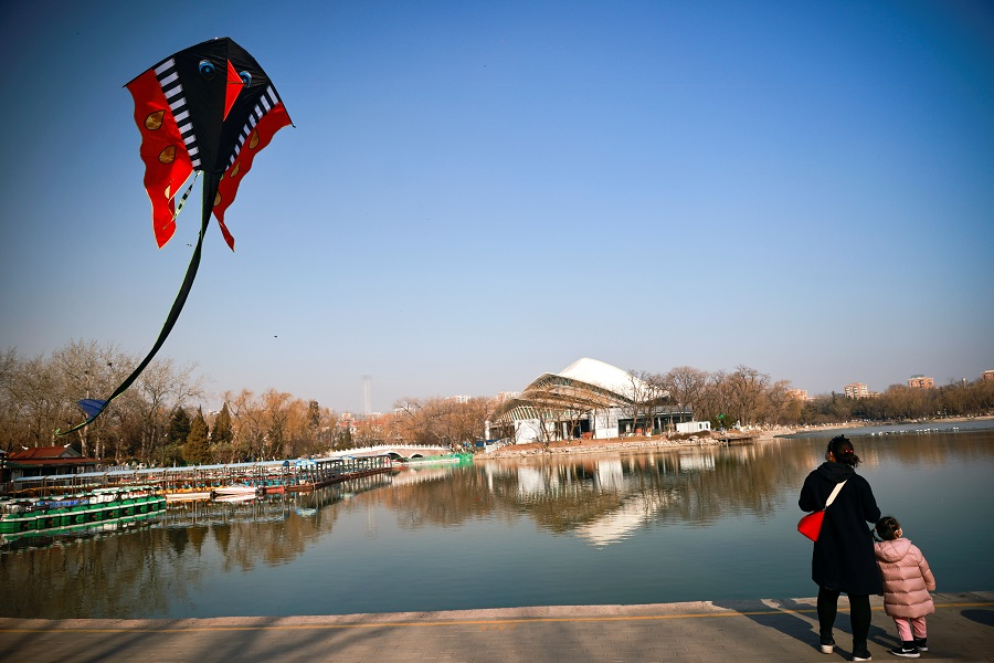 A kite flies in a park ahead of Lunar New Year celebrations, in Beijing, China, 10 February 2021. (Thomas Peter/Reuters)