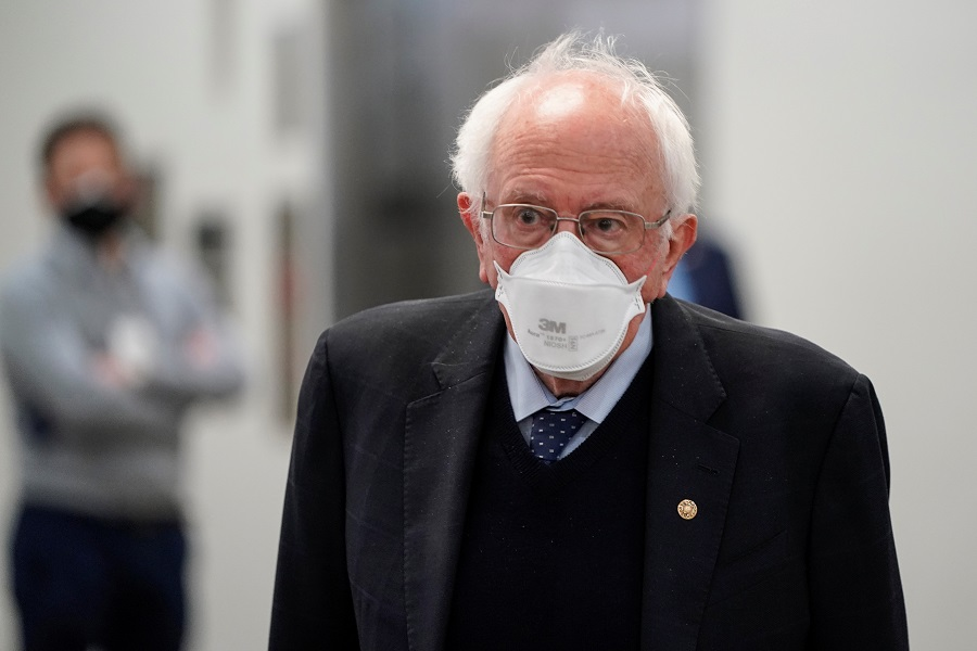 US Senator Bernie Sanders departs after House impeachment managers rested their case in impeachment trial of former US President Donald Trump, on charges of inciting the deadly attack on the US Capitol, on Capitol Hill in Washington, US, 11 February 2021. (Joshua Roberts/Reuters)