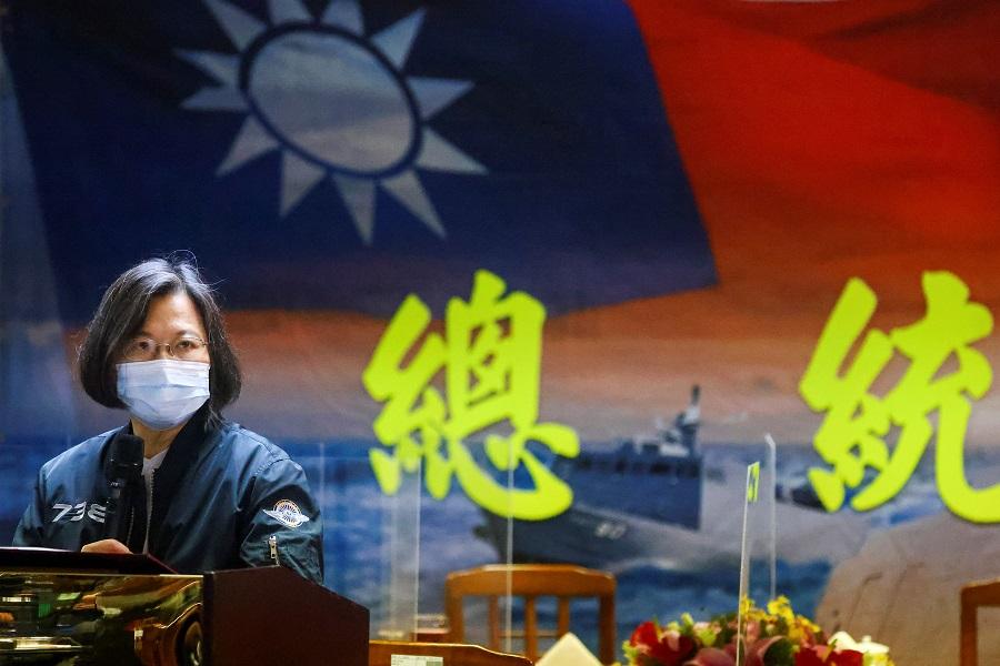 Taiwan President Tsai Ing-wen gives a speech after visiting the Navy's 131st Fleet in Keelung, Taiwan, 8 March 2021. (Ann Wang/Reuters)