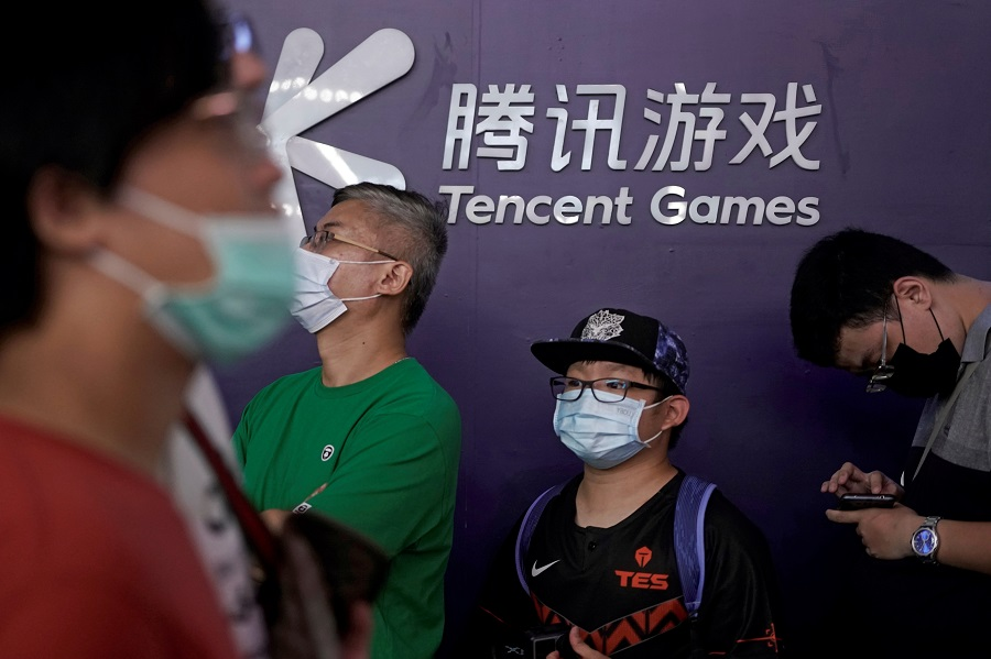 A Tencent Games sign is seen at the China Digital Entertainment Expo and Conference (ChinaJoy) in Shanghai, China, 31 July 2020. (Aly Song/File Photo/Reuters)