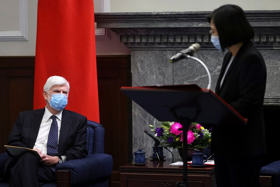 Taiwan President Tsai Ing-wen speaks at a meeting with former US Senator Chris Dodd and the US delegation at the presidential office in Taipei, Taiwan, 15 April 2021. (Ann Wang/Pool/Reuters)