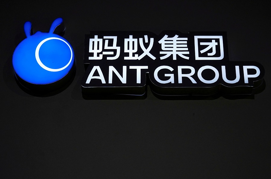 A sign of Ant Group is seen during the World Internet Conference in Wuzhen, Zhejiang province, China, 23 November 2020. (Aly Song/File Photo/Reuters)