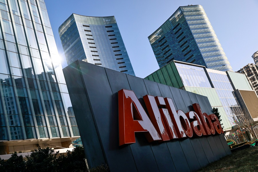 The logo of Alibaba Group is seen at its office in Beijing, China, 5 January 2021. (Thomas Peter/File Photo/Reuters)