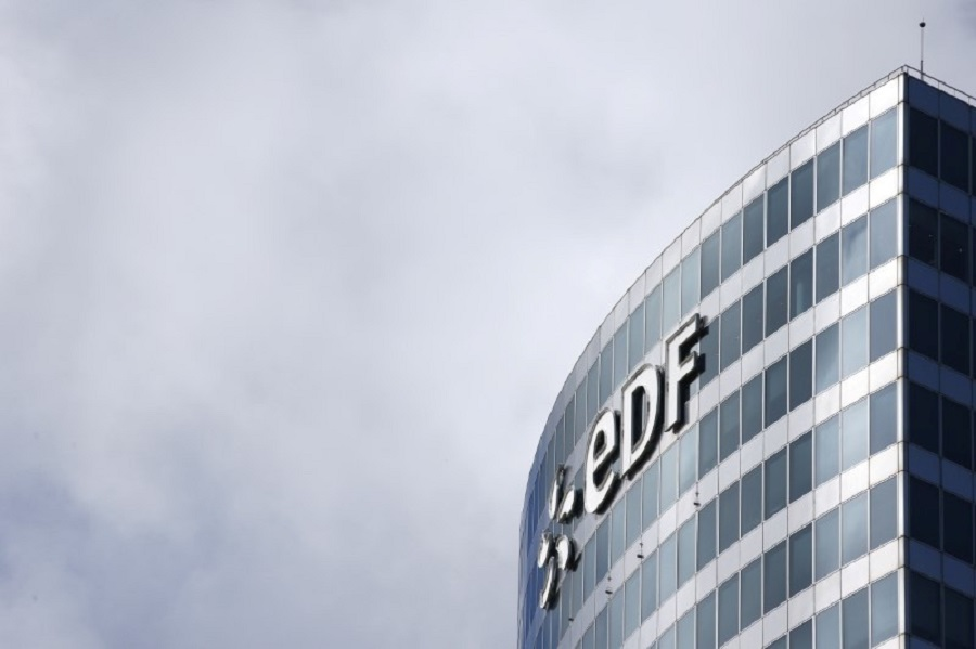 The logo of Électricité de France (EDF) is seen on a building in the financial district of La Défense, near Paris, 29 July 2013. (Benoit Tessier/File Photo/Reuters)