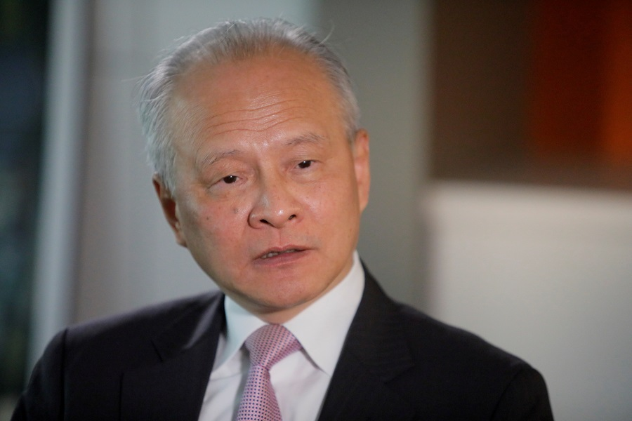 China's ambassador to the US Cui Tiankai responds to reporters' questions during an interview with Reuters in Washington, US, 6 November 2018. (Jim Bourg/File Photo/Reuters)