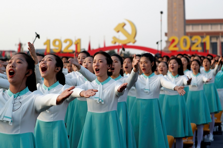 Performers rehearse before the event marking the 100th founding anniversary of the Communist Party of China, on Tiananmen Square in Beijing, China, 1 July 2021. (Carlos Garcia Rawlins/Reuters)