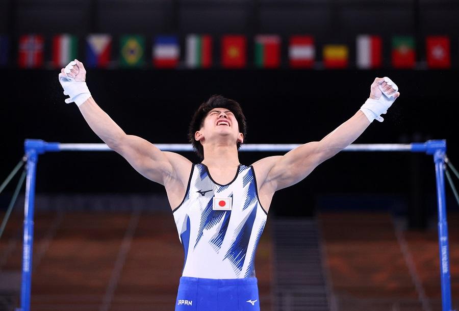 Daiki Hashimoto of Japan reacts after performing on the horizontal bar, Ariake Gymnastics Centre, Tokyo, Japan, 28 July 2021. (Lindsey Wasson/Reuters)