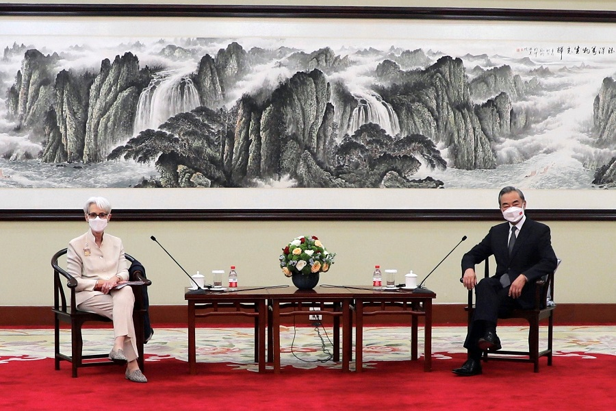 US Deputy Secretary of State Wendy Sherman meets Chinese State Councilor and Foreign Minister Wang Yi in Tianjin, China in this handout picture released on 26 July 2021. (US Department of State/Handout via Reuters)