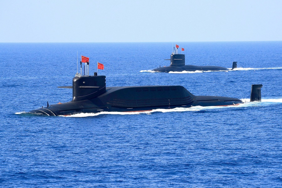 A nuclear-powered Type 094A Jin-class ballistic missile submarine of the Chinese People's Liberation Army (PLA) Navy is seen during a military display in the South China Sea, 12 April 2018. (Stringer/Reuters)