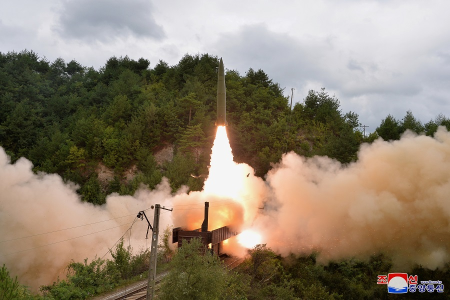 A missile is seen launched during a drill of the Railway Mobile Missile Regiment in North Korea, in this image supplied by North Korea's Korean Central News Agency on 16 September 2021. (KCNA via Reuters)