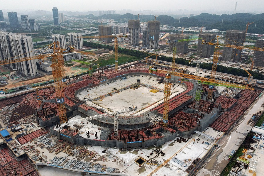 An aerial view shows the construction site of Guangzhou Evergrande Soccer Stadium, a new stadium for Guangzhou FC, developed by China Evergrande Group, in Guangzhou, Guangdong province, China, 26 September 2021. (Thomas Suen/Reuters)