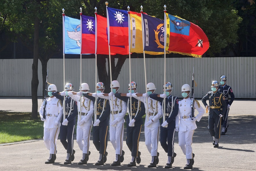 Taiwan honour guards perform during a Double Tenth Day rehearsal in Taipei, Taiwan, 5 October 2021. (Ann Wang/Reuters)