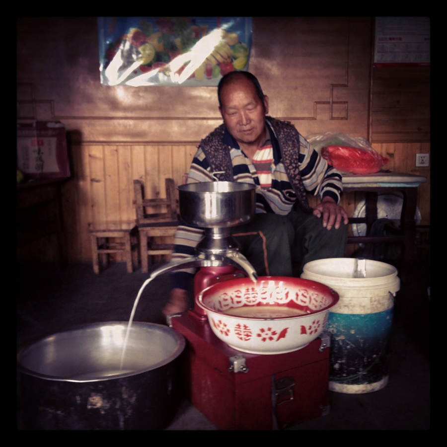 A member of a yak herding family outside of Lijiang (丽江) separating fat from yak milk.