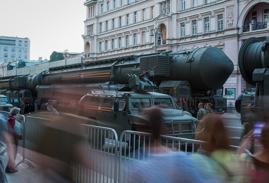 A vehicle transports a RS-24 Yars strategic nuclear missile along a street during a Victory Day rehearsal in Moscow, Russia, on 17 June 2020. (Andrey Rudakov/Bloomberg)