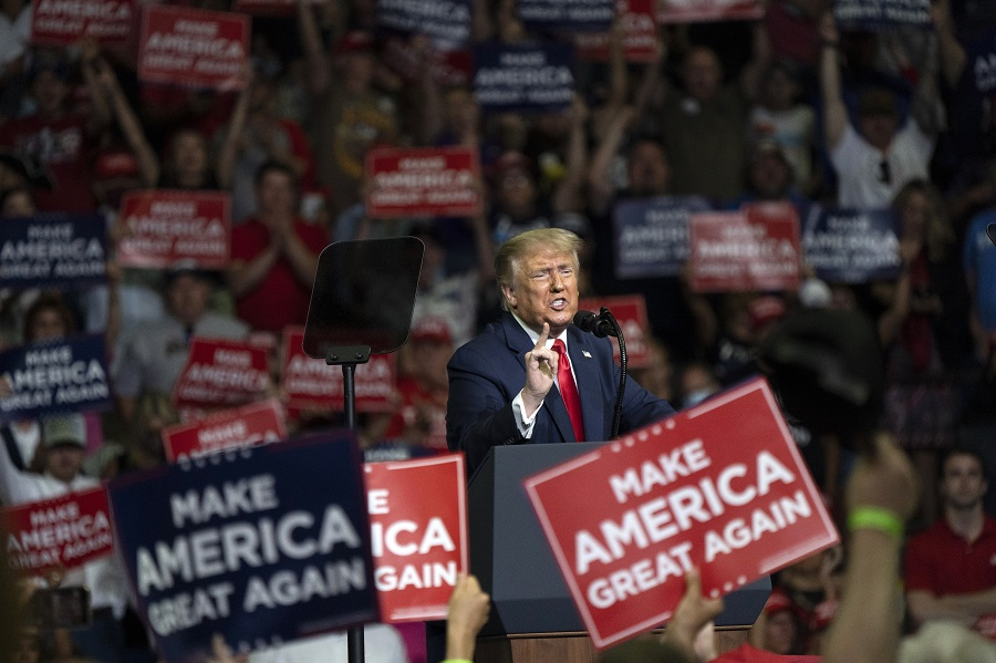US President Donald Trump speaks during a rally in Tulsa, Oklahoma, US, on 20 June 2020. (Go Nakamura/Bloomberg)