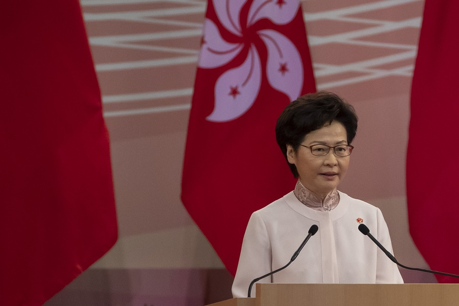Carrie Lam, Hong Kong's chief executive, speaks during a ceremony to mark the 23rd anniversary of Hong Kong's return to Chinese rule in Hong Kong, China, on 1 July 2020. (Paul Yeung/Bloomberg)
