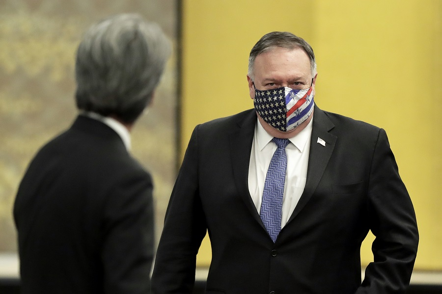 Mike Pompeo, US Secretary of State, attends the Quadrilateral Security Dialogue (Quad) ministerial meeting in Tokyo, Japan, on 6 October 2020. (Kiyoshi Ota/Bloomberg)