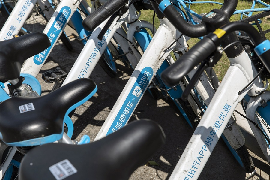 Signage for Ant Group's Alipay digital payment service on Hello Inc. bicycles in Shanghai, China, on 26 April 2021. (Qilai Shen/Bloomberg)